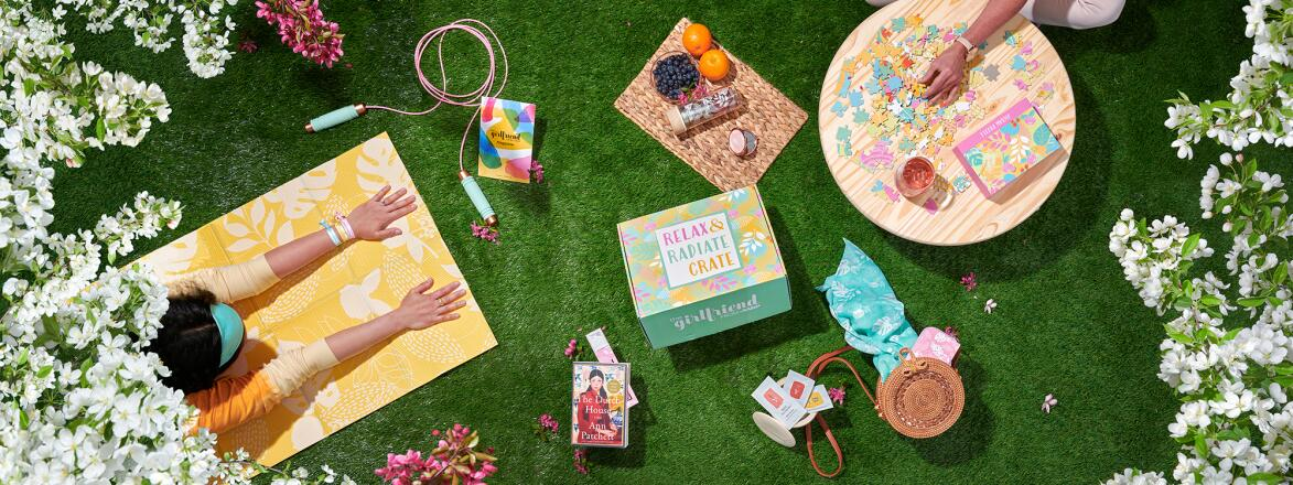 Contents of the Spring 2021 Relax and Radiate Crate