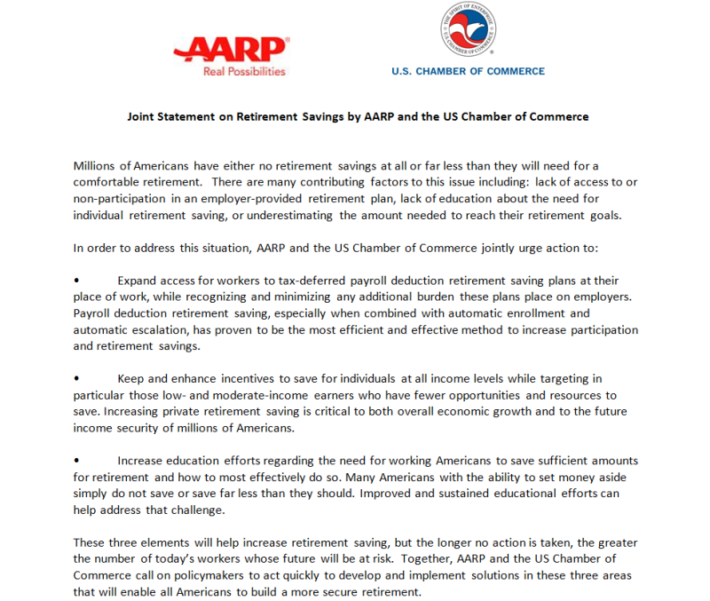 AARP-US chamber joint call to action for policies to increase retirement saving