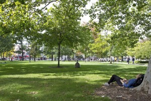 Students relaxing on the meadow at Ann Arbor campus, Michigan, USA
