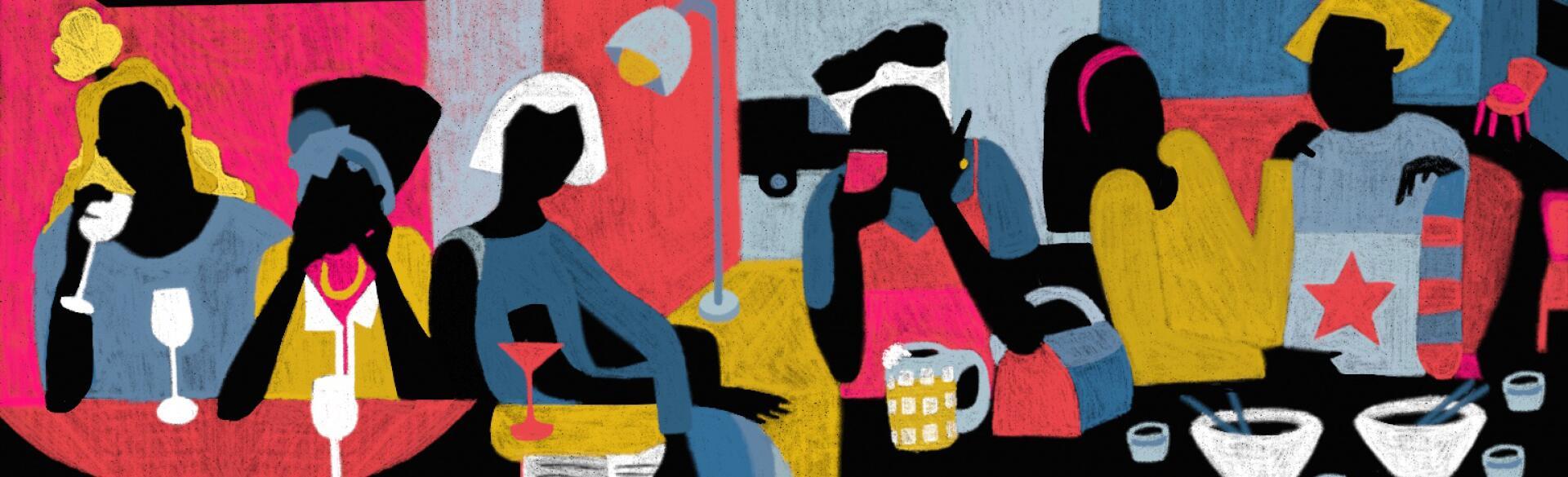 illustration of ladies drinking by diana ejaita