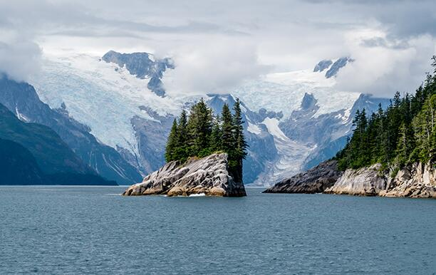 Islands and glaciers in the Kenai Fjords National Park