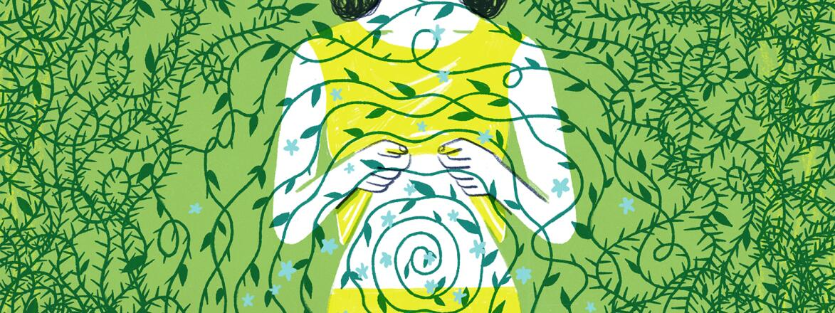 illustration of woman showing her stomach with green vine wrapping around