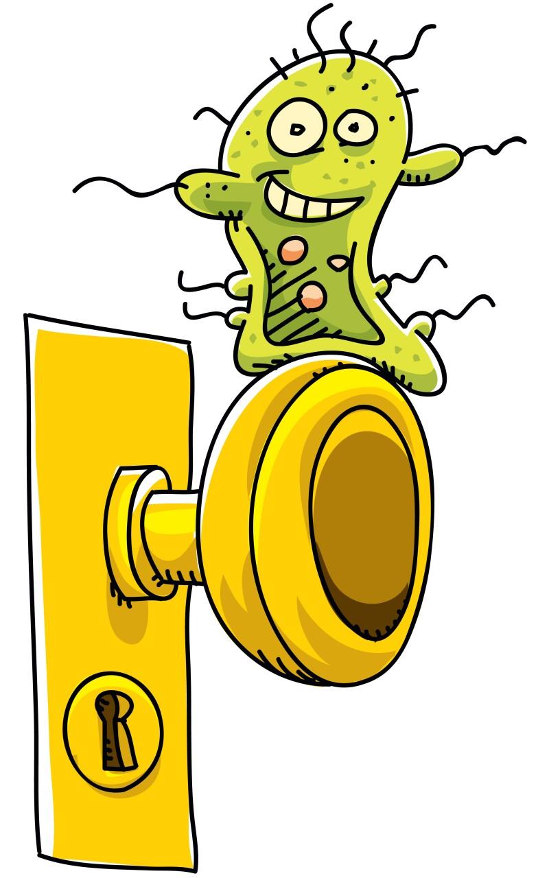 Germ on Door Knob, Spreading Virus