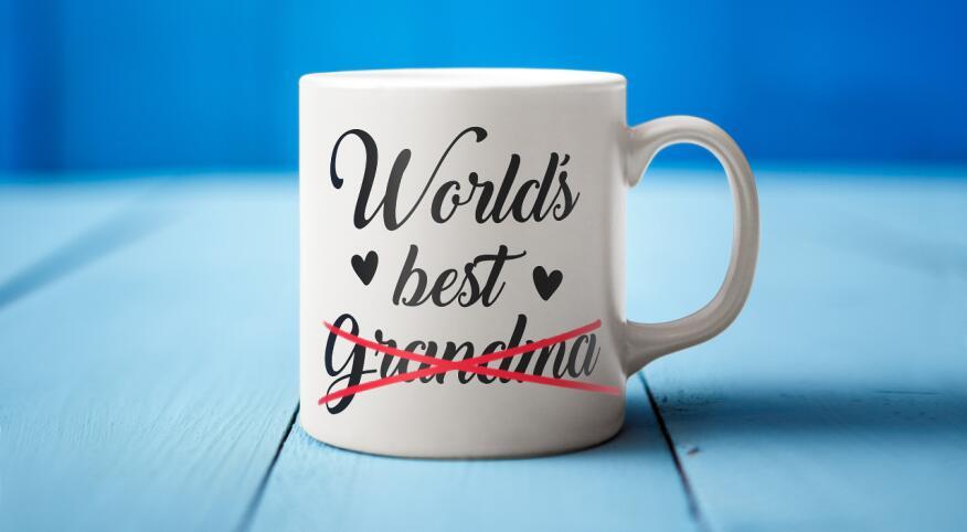 """World's best Grandma"" mug with the word ""Grandma"" crossed out"
