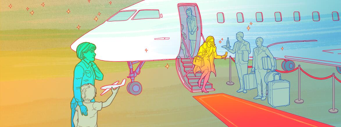 illustration of woman with her son watching her friend get off a private plane