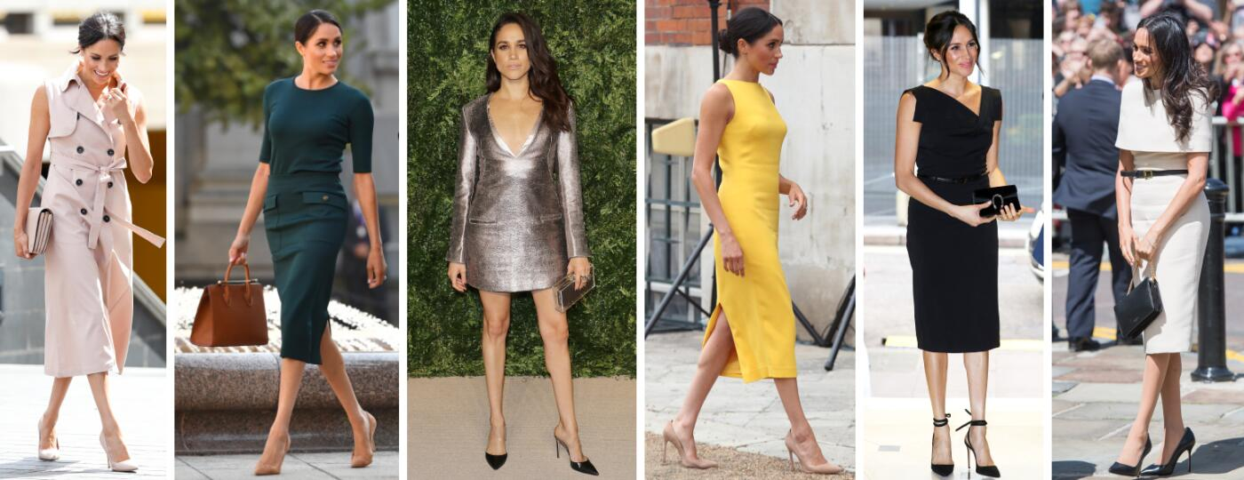 collage of different photos of meghan markle wearing high heels