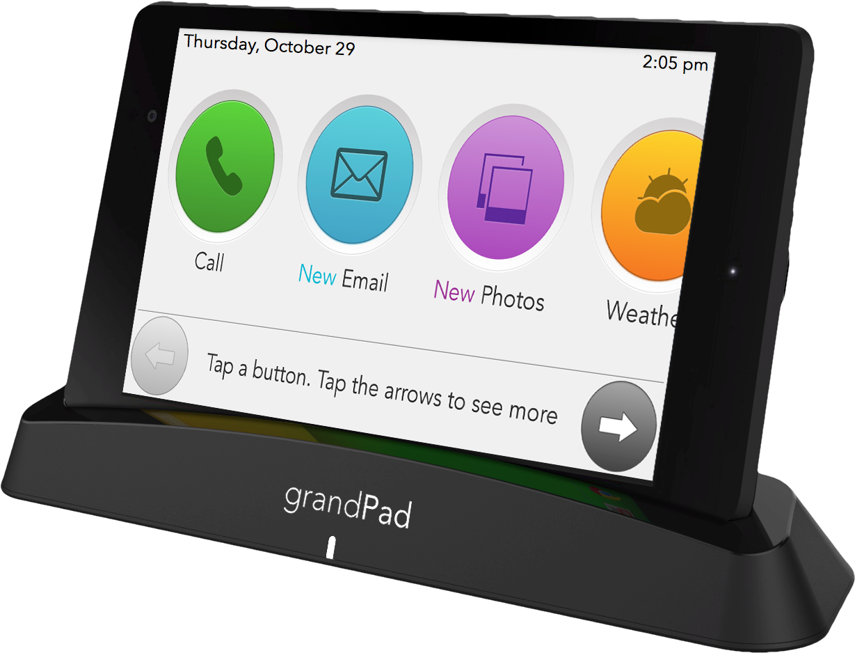 AARP, The Girlfriend, Grandpad, tablet, Lyft