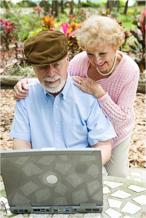 grandparents with laptop