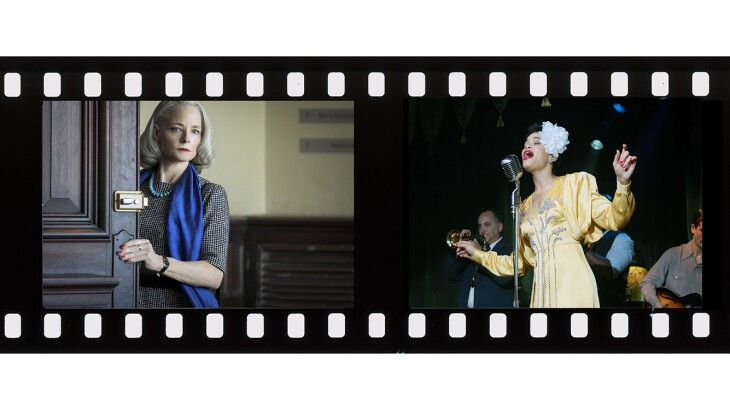Film frame with insets from The Queens Gambi, THE MAURITANIAN, and THE UNITED STATES VS. BILLIE HOLIDAY
