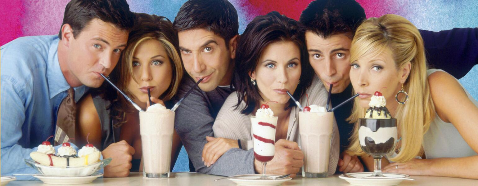 A promotional shot of the Friends actors from early on in the show's run.