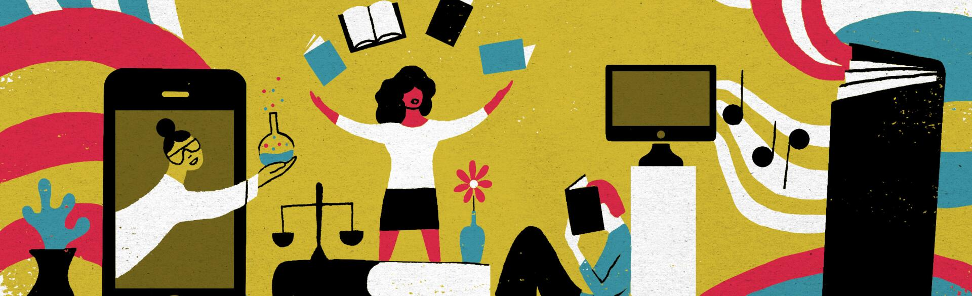 illustration of ladies engaging in online learning activities