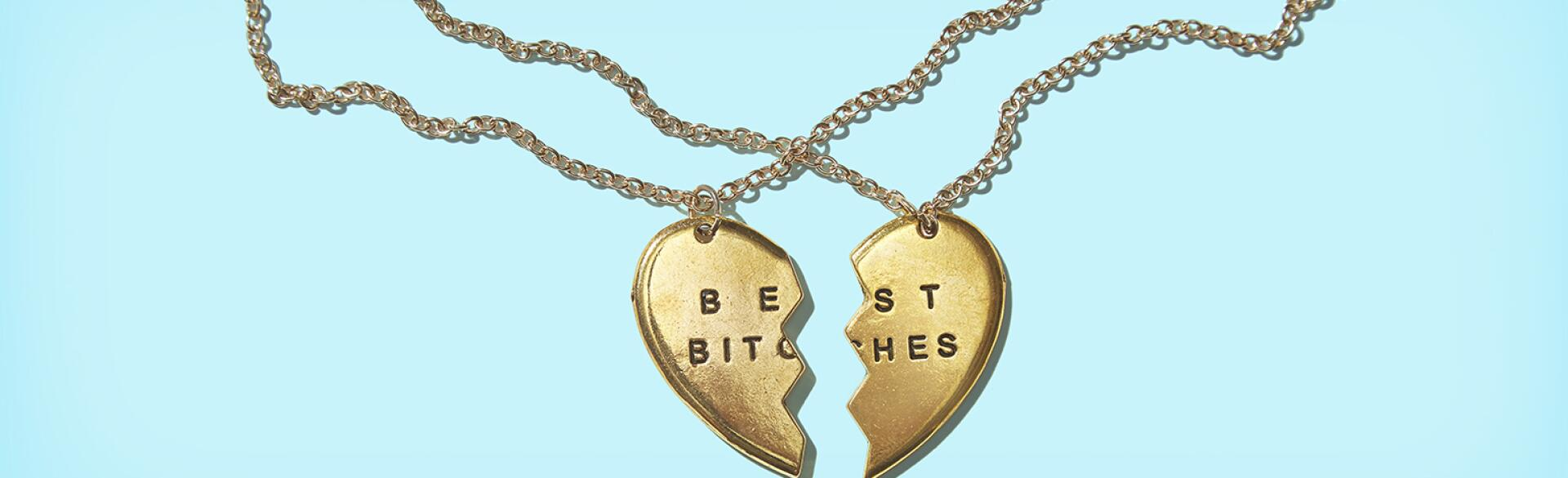 best bitches necklaces broken into two pieces