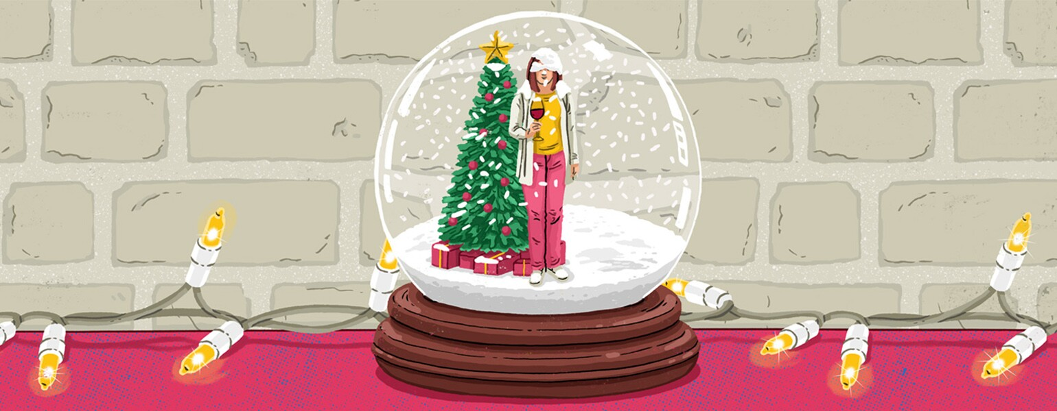 aarp, girlfriend, Christmas, illustration