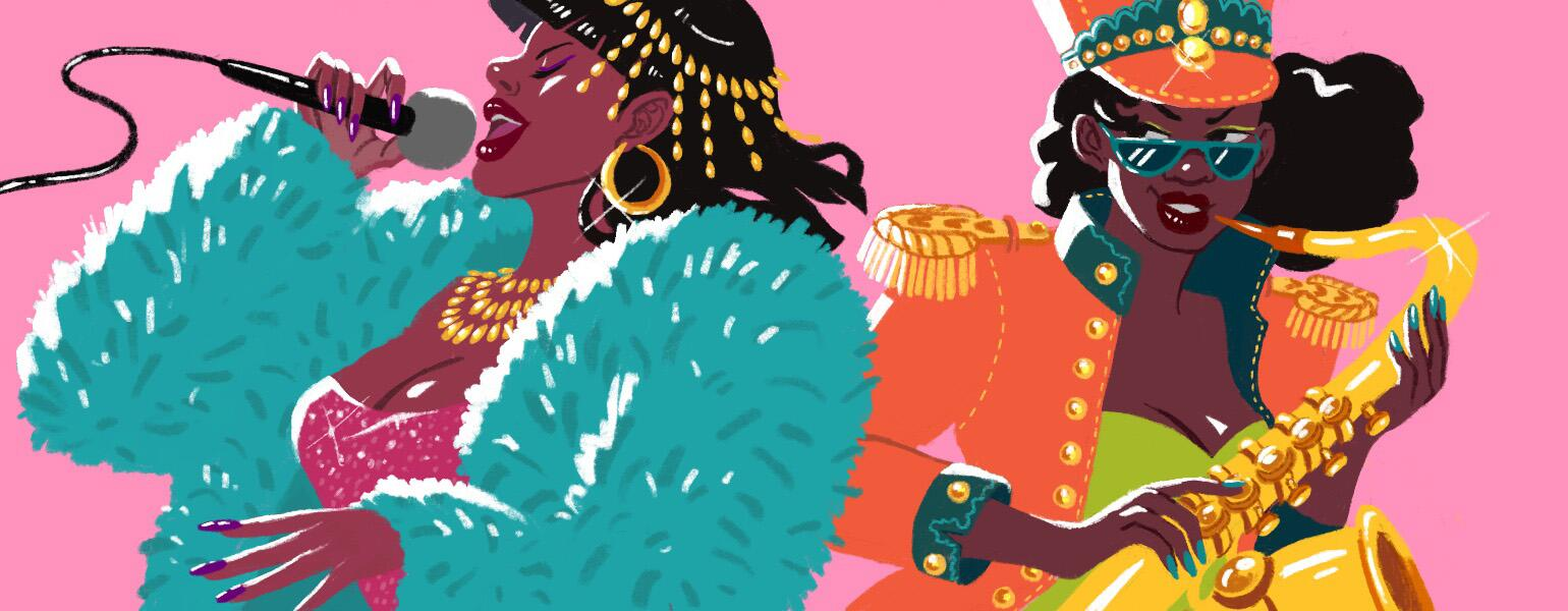 Illustration of black women singing and playing instruments