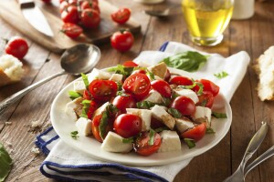 Homemade Healthy Caprese Salad with Tomato Mozzarella and Basil