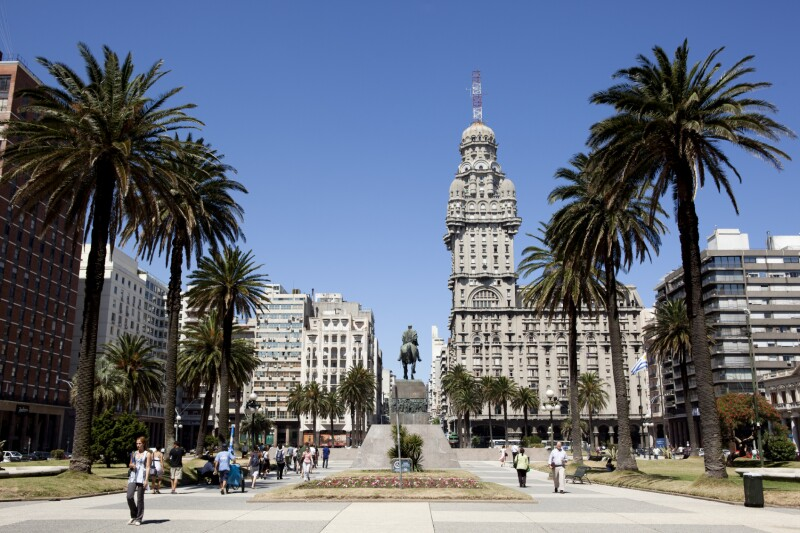 Palacio Salvo Building, downtown Montevideo, Uruguay, South Amer