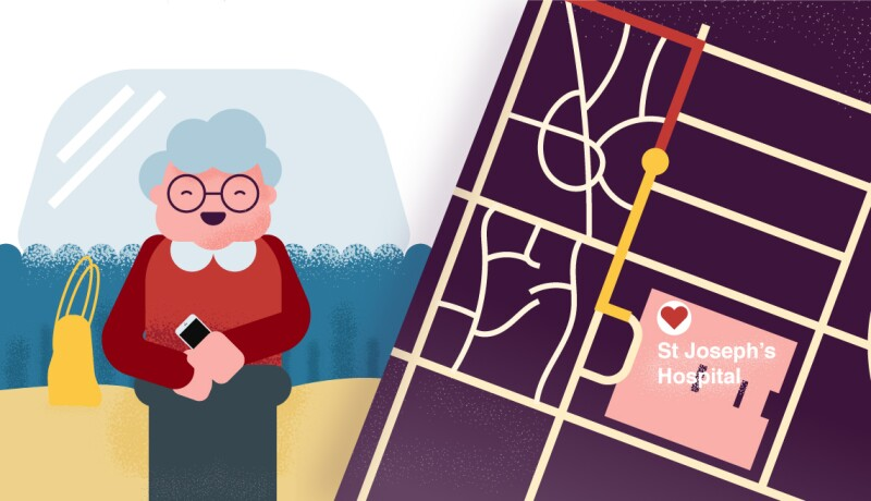 Grandmother near map with hospital shown purple