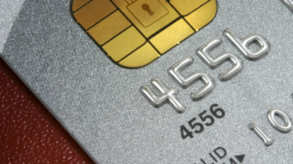 Platinum Credit Card macro, with data holding microhip and padlock motif