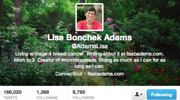 Lisa Bonchek Adams Twitter Profile bio