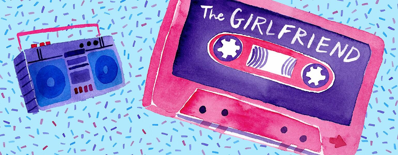 illustration of the girlfriend casette spotify playlist by karen kurycki