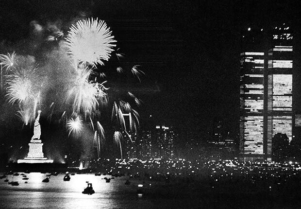 Bicentennial Fireworks - New York City - Statue of Liberty - World Trade Center