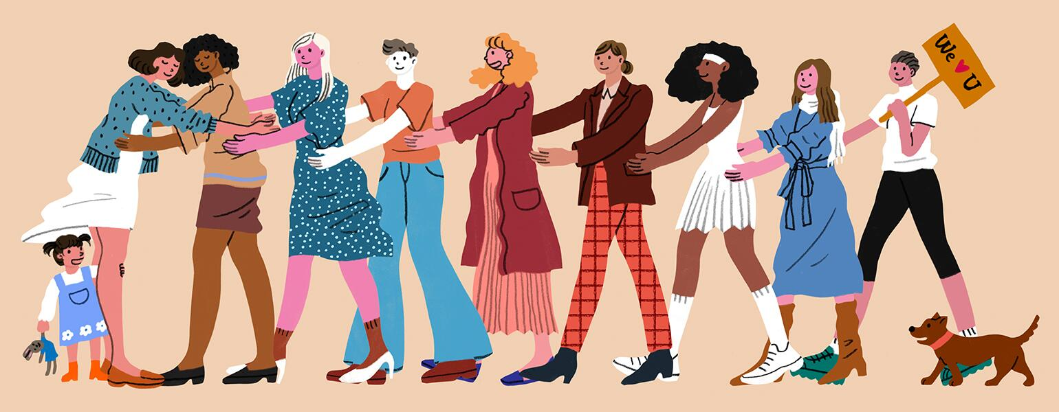 illustration of different women friends who are mothers
