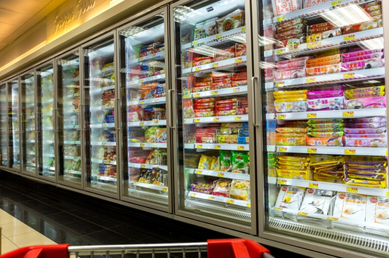 Frozen Food Section of Grocery Store
