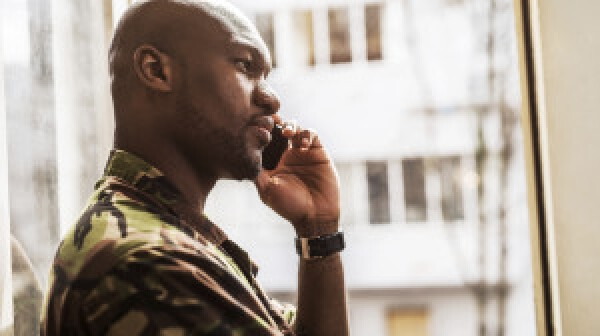 Soldier talking on the phone