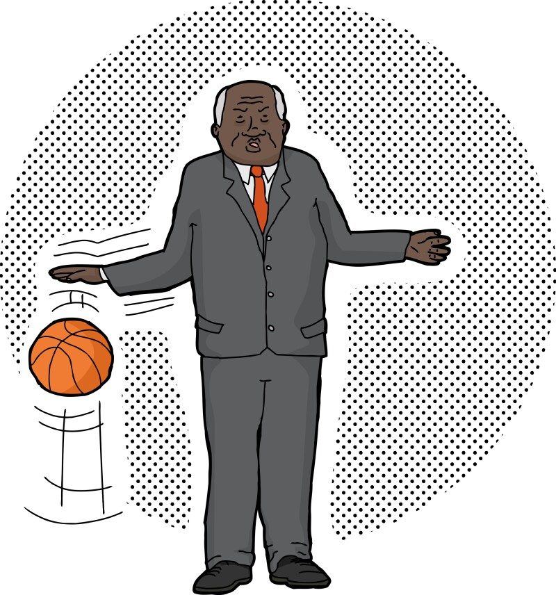 Businessman Dribbling Basketball