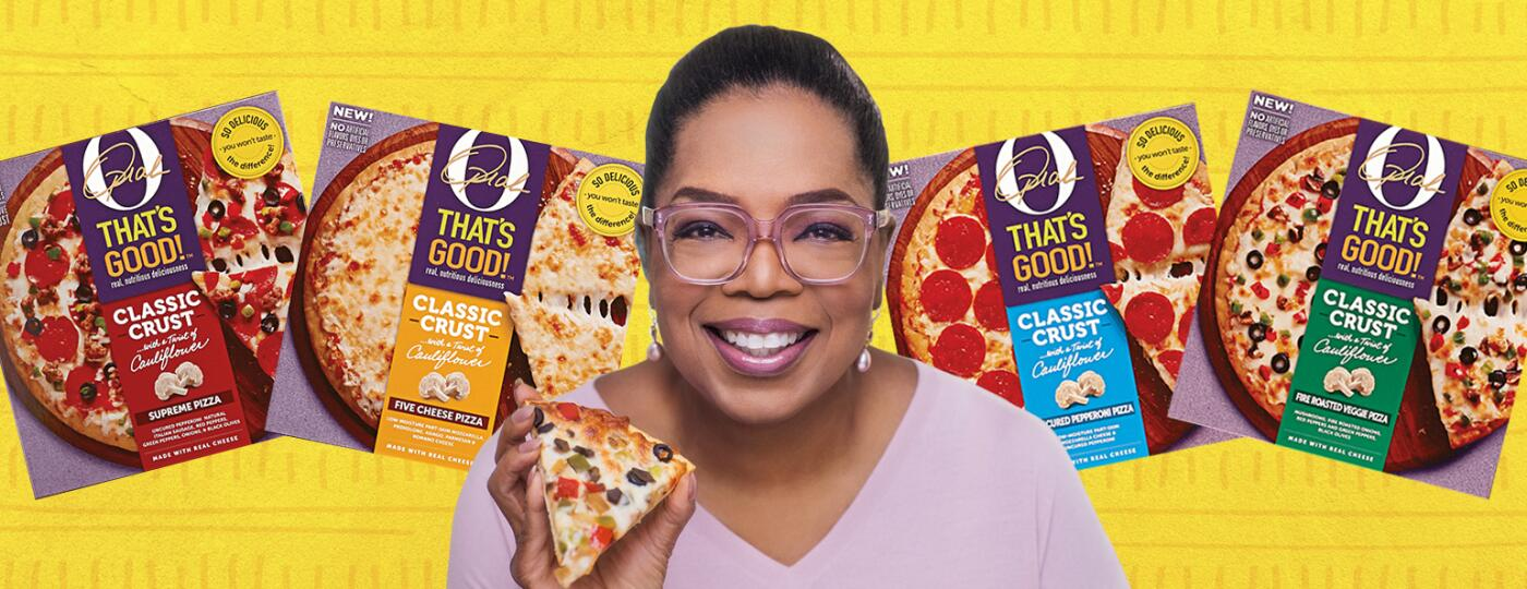 Photo collage of Oprah and her frozen pizza line