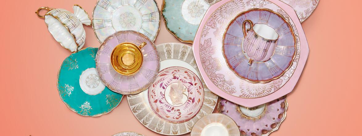 photo of various antique tea cups and dishes