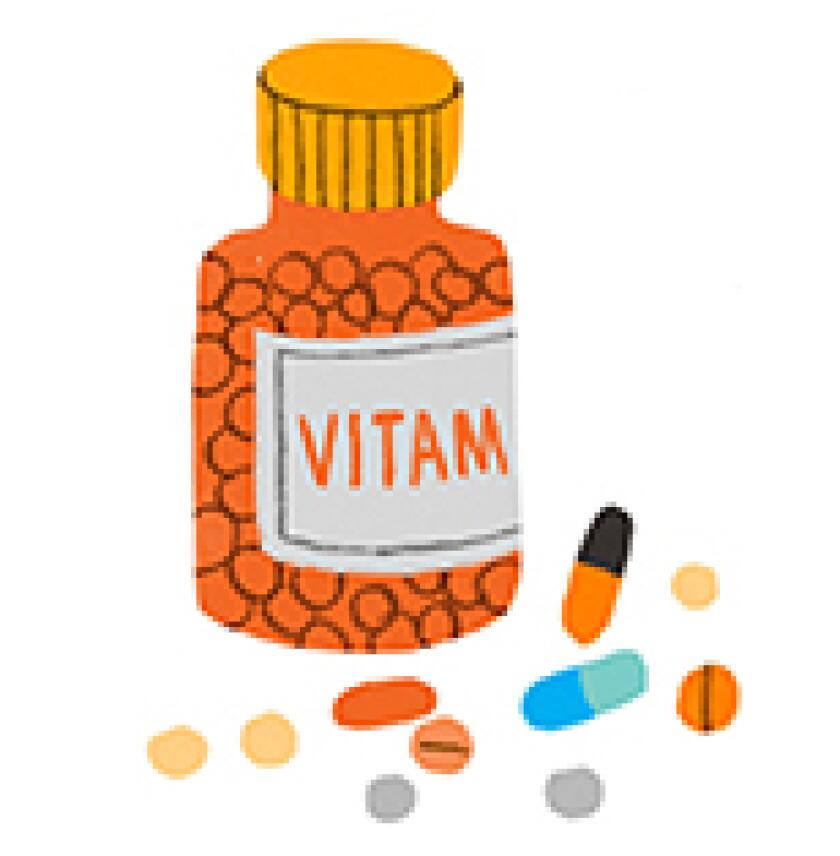 aarp, girlfriend, vitamins, illustration