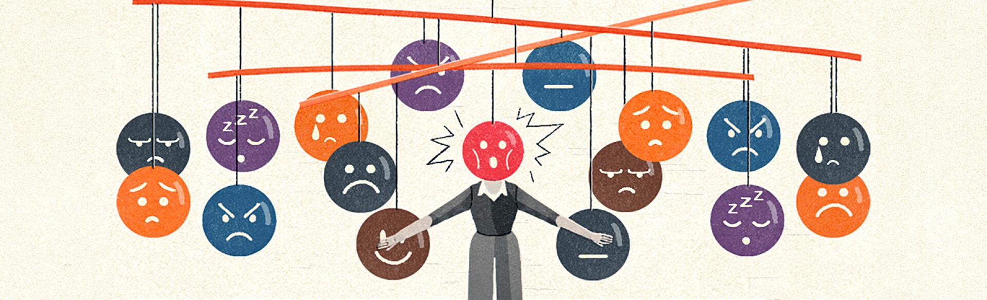 illustration of different negative emotions circling around lady because of perimenopause
