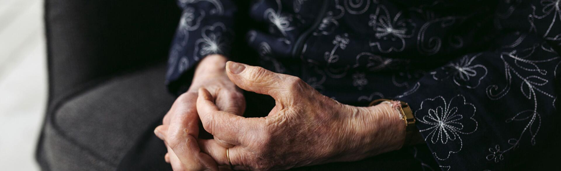 closeup of elderly woman's hands