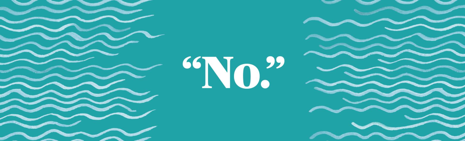 the word no in big white bold font on light blue background