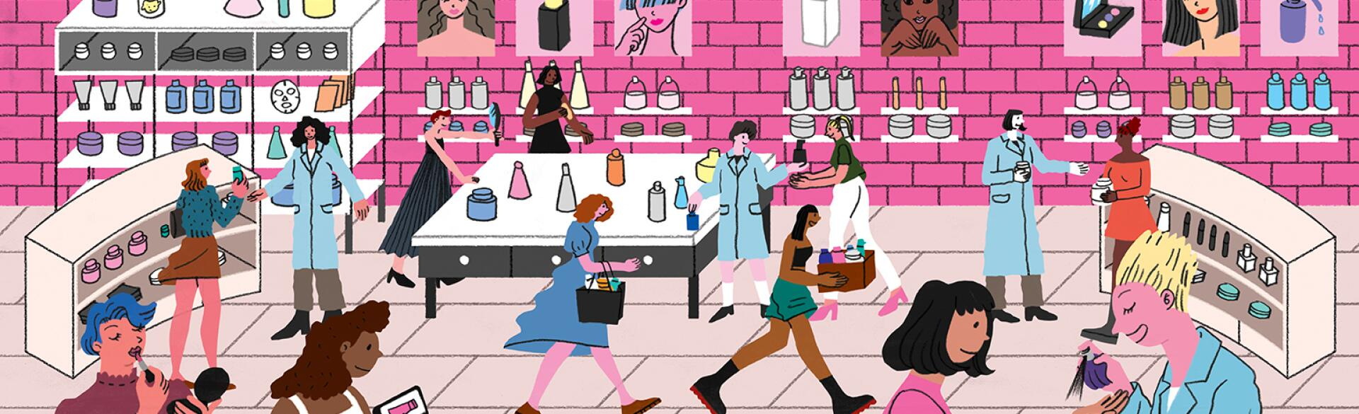 illustration of women in beauty store trying on different products