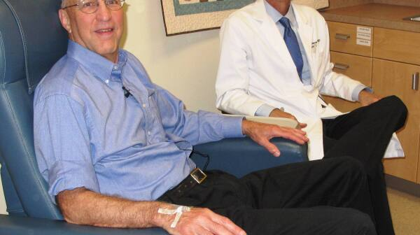 Peter Bristol and doctor - Alzheimer's study
