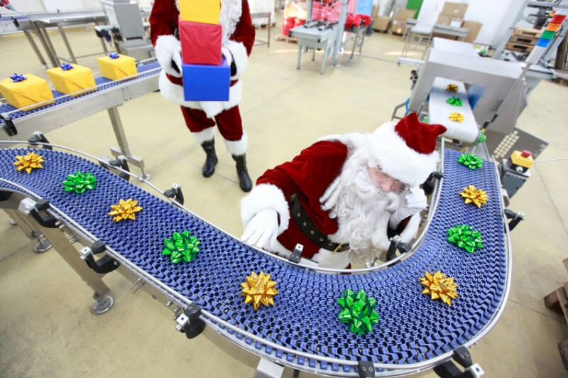 Santa at production line, working