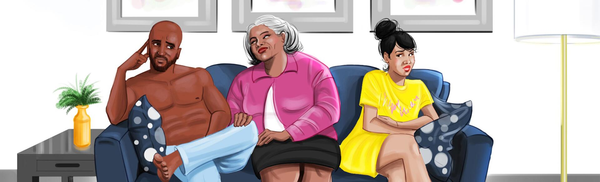 A graphic of a mother sitting in between a young couple on a couch.