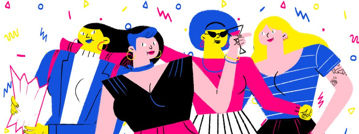 A drawing of a group of four women enjoying being out for a birthday celebration.