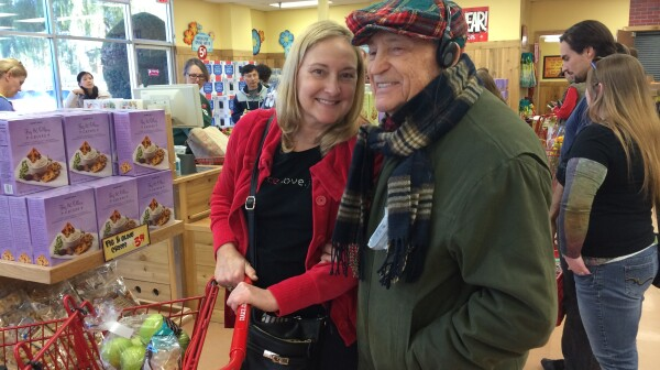 Dad & Amy Grocery Shopping at Trader Joes Jan 2015