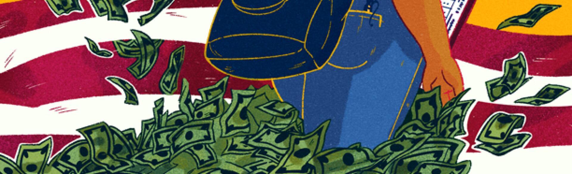 illustration of lady being followed by sidehustle money by islenia mil