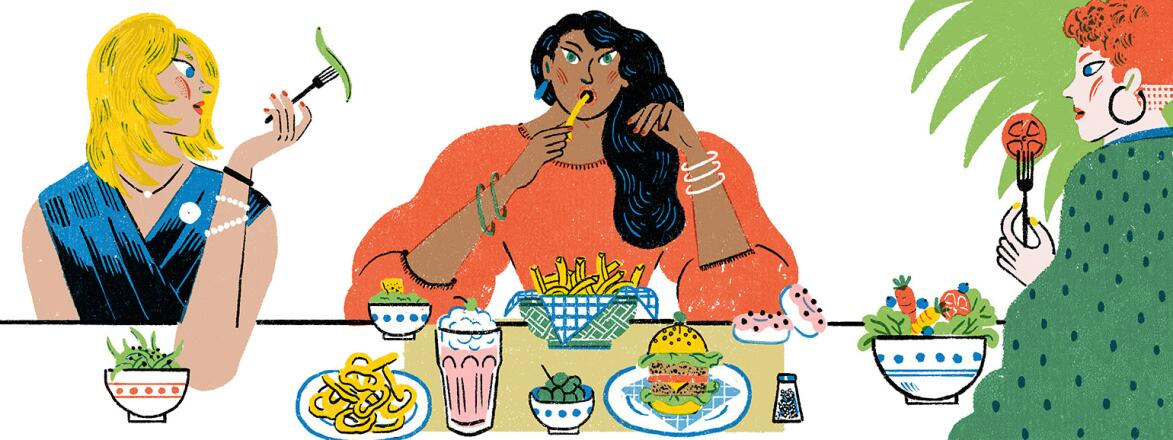 illustration of 2 women eating healthy and a woman in the middle eating french fries