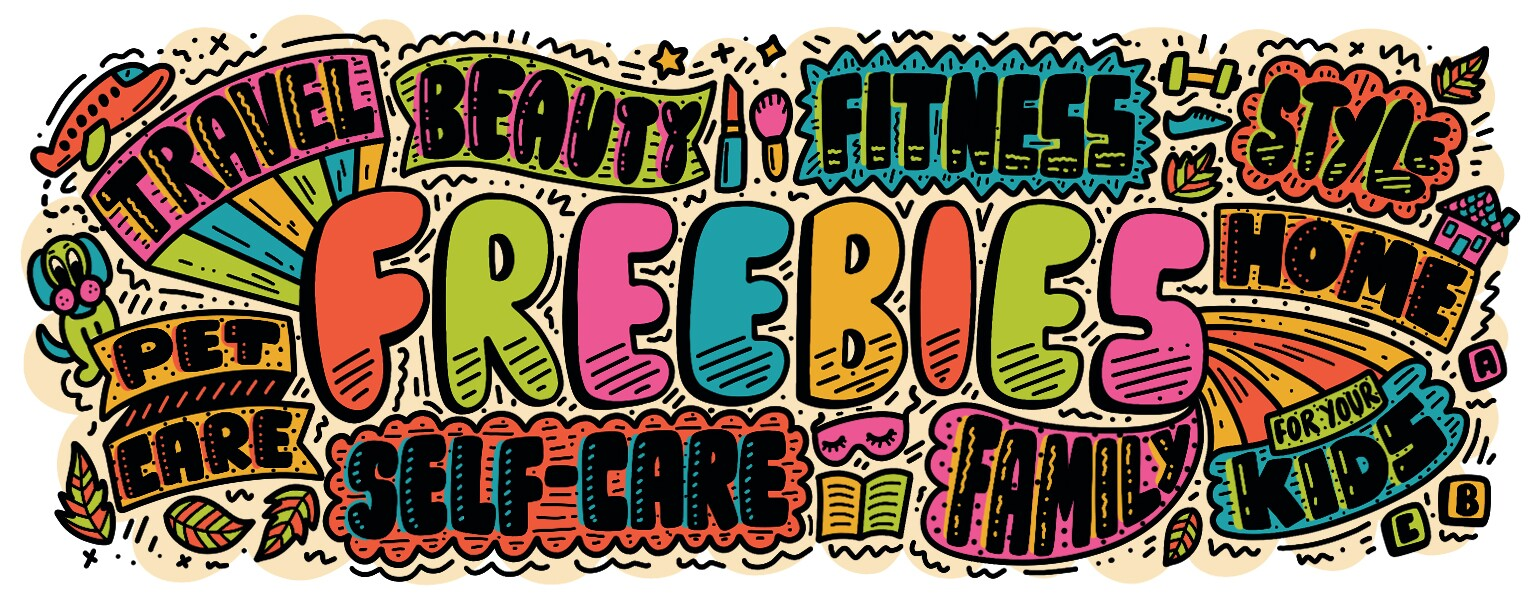 hand lettering illustration of 50 freebies