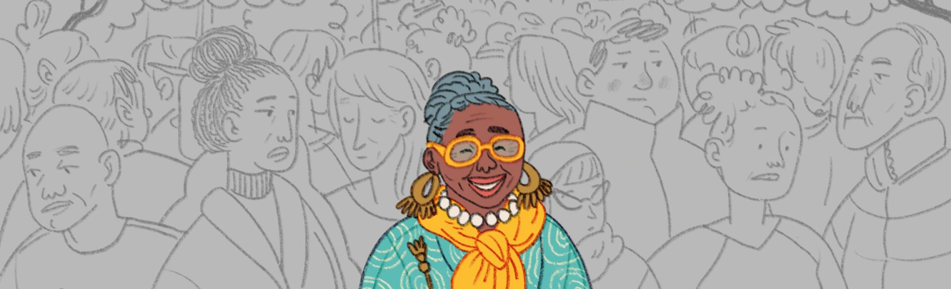 A graphic of a smiling woman in a crowd who does not notice her.