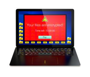 Screen of laptop computer showing alert that the computer was attacked by ransomware. 3D rendering image with clipping path.