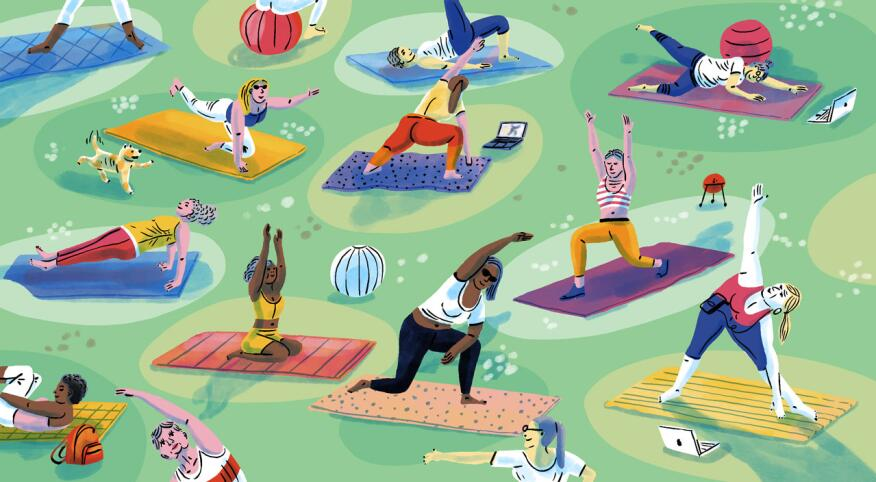 Variety of different women doing Pilates on mats