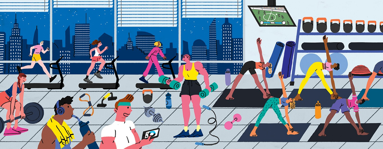 Health Freebies, illustration, aarp, girlfriend, fitness, wellness