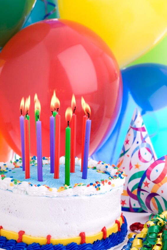 Birthday Party Candles and Balloons and Party Hats