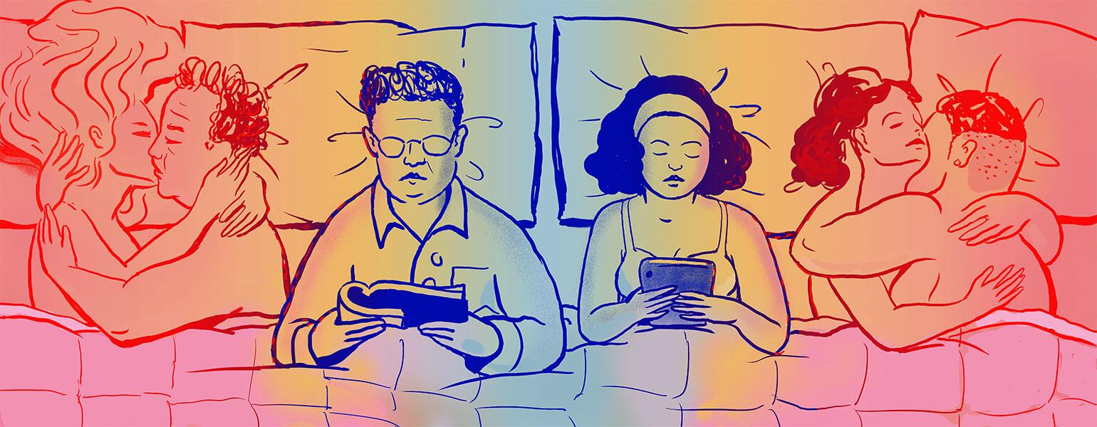 A husband and wife in an open marriage lay side by side in bed, reading. To either side are depictions of them being intimate with other people.